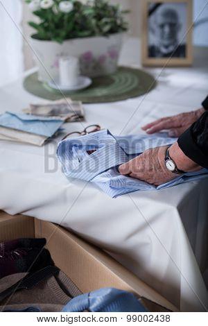 Packing Dead Husband's Shirt