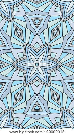Seamless Abstract Tribal Pattern. Hand Drawn Ethnic Texture, Vector Illustration In The Cold, Blue T
