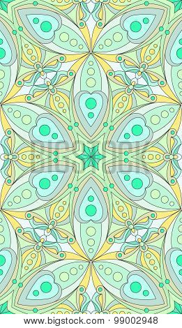 Seamless Abstract Tribal Pattern. Hand Drawn Ethnic Texture, Vector Illustration In Bright, Green To