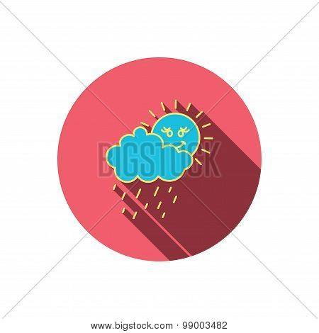Rain and sun icon. Water drops with cloud sign.