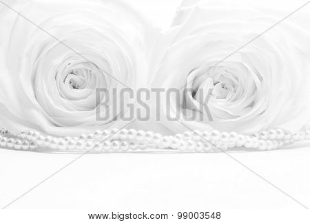 White Roses With Pearls As Wedding Background. Soft Focus. In Black And White. Retro Style