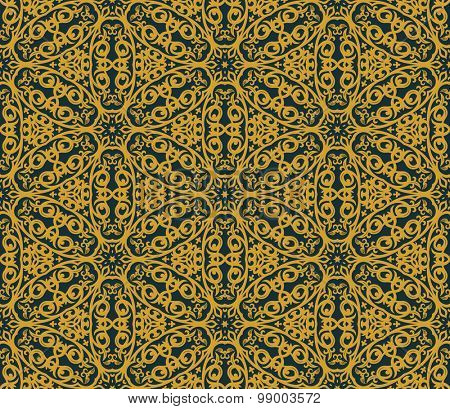 Seamless background in Arabic style. Gold, and blue wallpaper with patterns for design. Traditional oriental decor