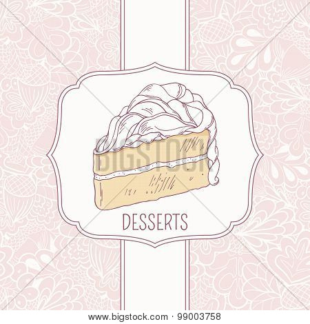 Dessert menu template with sweet cake and doodle pattern