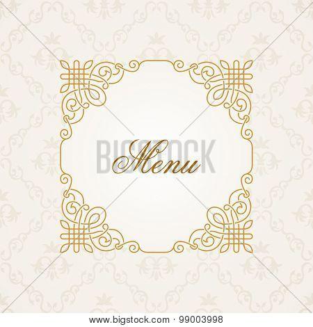 Calligraphic frame. Vector vintage elegant text border and decor background