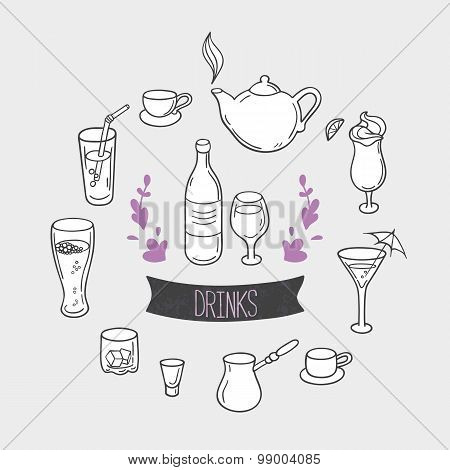 Set of hand drawn stylized drinks in vector. Background with beverages for design