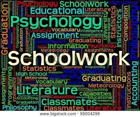Schoolwork Word Shows Undertaking Words And Text