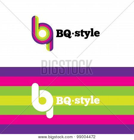 Vector modern abstract logo. B and Q letters logotype with stripes