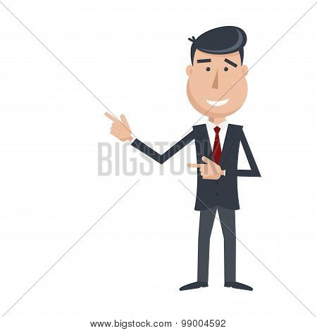 Funny Man In Suit And Tie Gesturing With His Hands.
