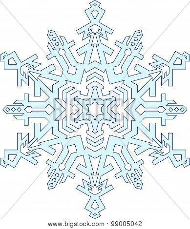 Outlines Of Snowflake In Mono Line Style. Vector Geometric Pattern.