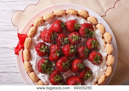 French Strawberry Charlotte Closeup On The Table. Horizontal Top View
