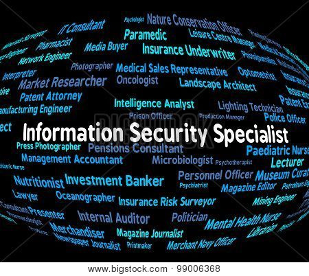 Information Security Specialist Represents Skilled Person And Answer