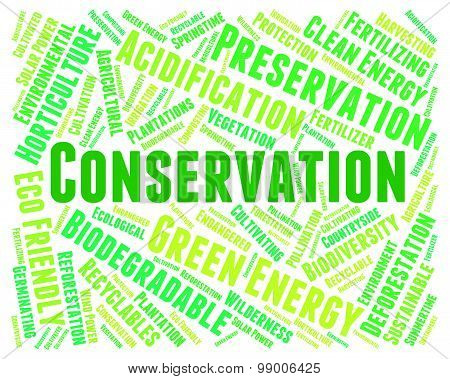 Conservation Word Indicates Earth Friendly And Conserving