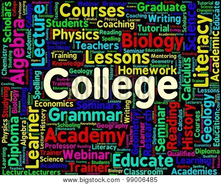College Word Shows University Words And Universities