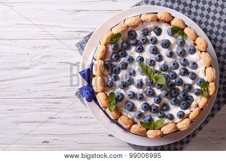 French Blueberry Cake Charlotte On A Plate. Horizontal Top View