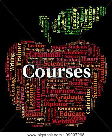 Courses Word Represents Study Schedules And Learn