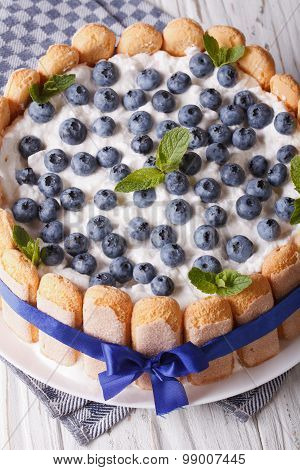 Beautiful Blueberry Cake Charlotte On A Plate Macro . Vertical