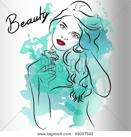 Beautiful girl's face with long blue hair. Watercolor illustration in vector.Design for invitation,