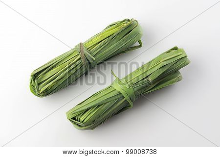 Two Bunches of Fresh Green Lemon Grass On White Background