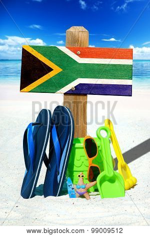 Wooden Signboard With South Africa Flag