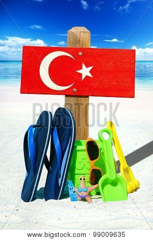 Wooden Signboard With Turkey Flag
