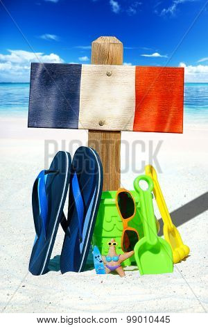 Wooden Signboard With France Flag
