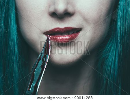 Dangerous Woman With Knife In Blood