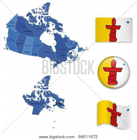 Canada-Nunavut-Map and Flag Collection