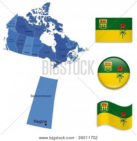Canada-Saskatchewan-Map and Flag Collection