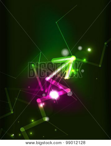 Glowing arrow and blending colors in dark space.  illustration. Abstract background