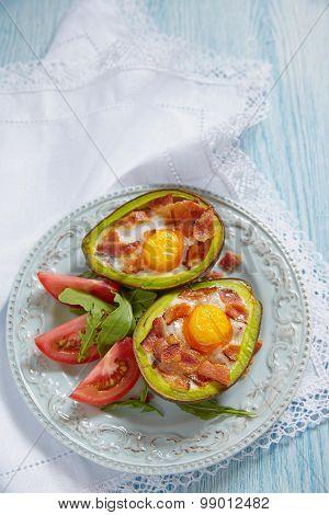 Avocado Egg Boats with bacon