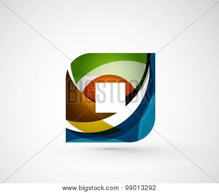 Abstract geometric company logo square, rhombus.  illustration of universal shape concept made of various wave overlapping elements
