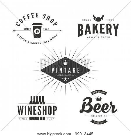 Coffee shop, Bakery, Wineshop, Beer pub Logo Vintage labels retro menu restaurant design vector template. Food Logotype concept icon set.