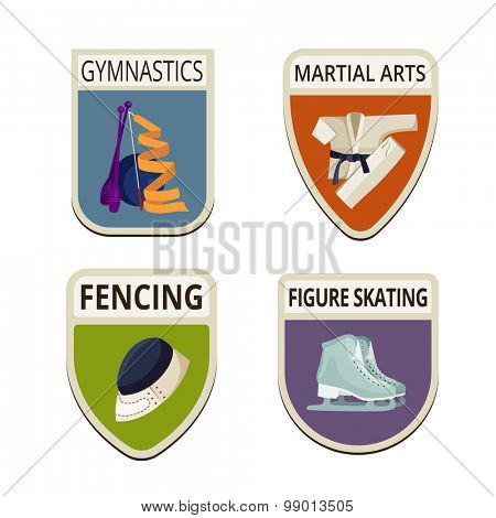Sport Fitness Gymnastics flat labels design vector logo templates icons.  Kimono, Fencing, Skates Logotype icons set illustrations.