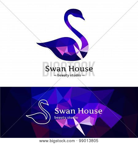Vector low poly swan logo. Beautiful diamond style logotype with polygonal background