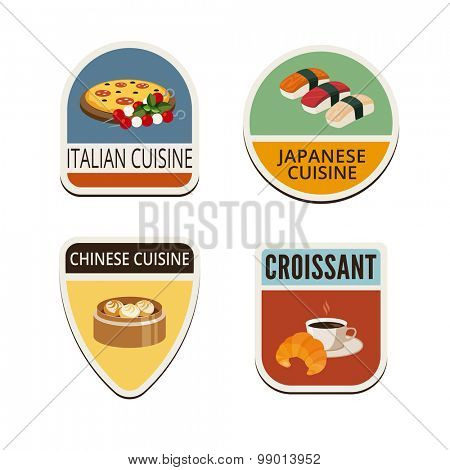 World cuisines vintage labels shields design vector logo templates.  Italian, Japanese, Chinese cuisines and coffee with croissant illustrations icons
