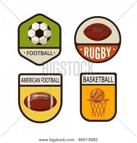 Soccer, Rugby, American Football, Basketball balls flat labels design vector logo templates icons. Ball Sport Logotype icons set illustrations.