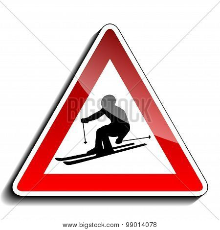 Skiing warning sign