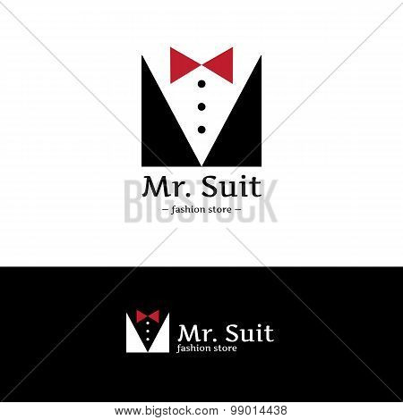 Vector minimalistic clothes logo. Hipster suit with bow-tie logotype.