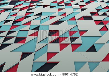 Abstract Colored Surface with Triangles.