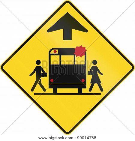 School Bus Stop Ahead In Canada