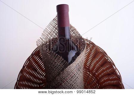 Wine Bottle In Burlap