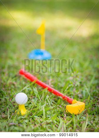 Plastic golf club and ball