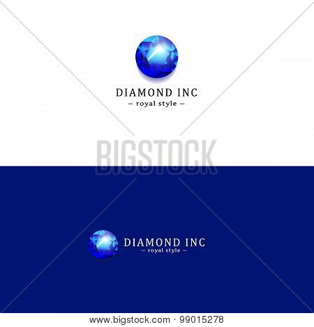 Vector royal blue diamond logo. Gem logotype.