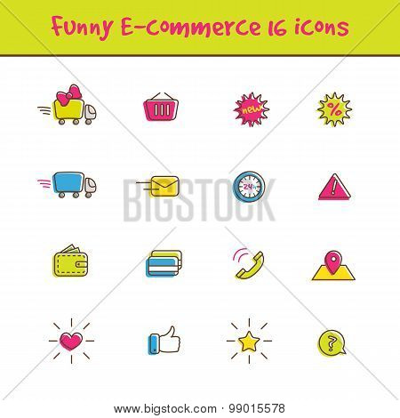 Vector outline colorful 16 e-commerce icons set in funny style. Online shop symbols collection