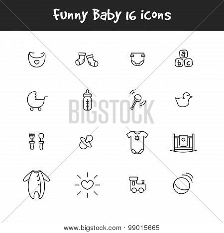 Vector outline black and white 16 baby icons set. Newborn theme symbols collection