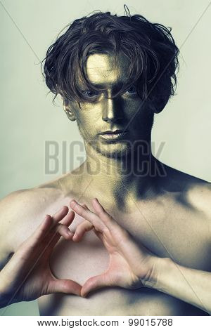 Gold Man With Hands In Shape Of Heart