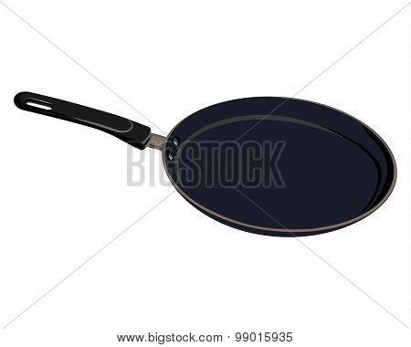Black isolated Teflon pan for kitchen for cooking pancake on a white background