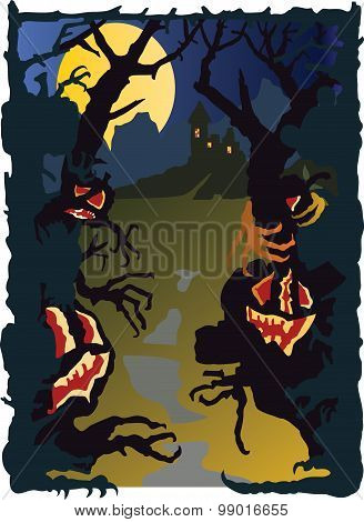 Halloween landscape with grasping figures.