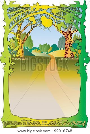 Woodland frame and sunny landscape.