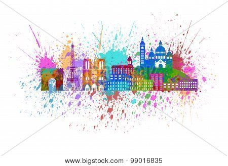 Paris City Skyline Paint Splatter Color Illustration